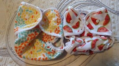 Thirsties Size 2 Duo Wrap Covers in Snaps Lot of 2 Melon Party/Fallen Leaves