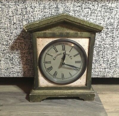 Vintage Colonial Clock Co. Wooden Mantle Clock- Battery Operated- Working