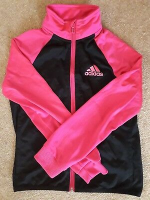 ADIDAS girls black & pink tracksuit size UK 9-10 years very good condition