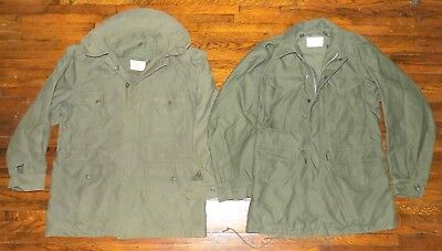 US Army Field Jacket M-65 + M-51 Coats  Mens Small - Lot Includes Both