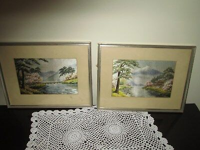 Pair of Vintage Japanese Woven Silk Pictures