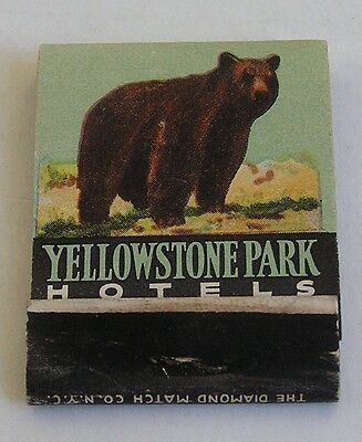 Advertising Match Book, Yellowstone Park Hotels, Wyoming, Bear, Geyser