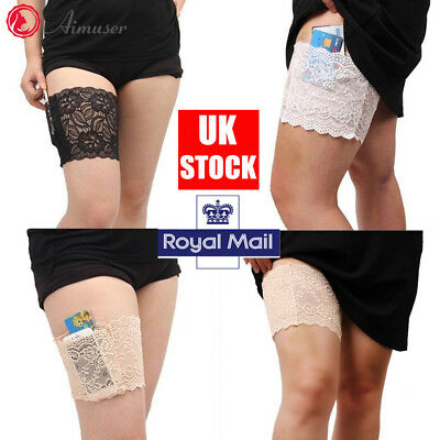 Pair Anti-Chafing Thigh Pocket Bands Women Stylish Non Slip Lace Elastic Sock UK