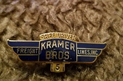 RARE KRAMER BROS FREIGHT LINES 5 yr  Safe Driver Award Truck Pin
