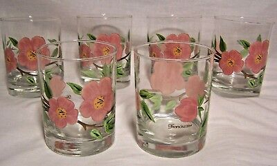 6 Signed Franciscan Desert Rose JUICE GLASSES Double Old Fashion TUMBLERS - Mint