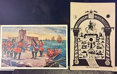 2 Orange Order Postcards William Of Orange At Carrickfergus 1690 & Order Symbols