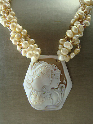 "VINTAGE HUGE 1980s 3 LADY GLASS CAMEO GENUINE PEARL CRYSTAL TORSADE 20"" NECKLACE"