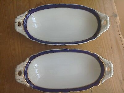 Royal Worcester, oval dishes. Blue and white with gilding. 1903 and 1905.