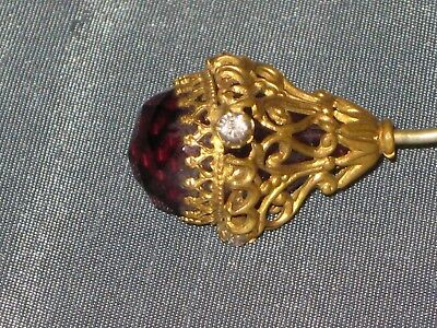 Antique Victorian Hat Pin With Amethyst