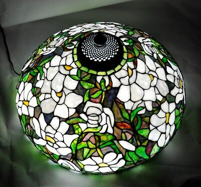 Large Antique or Vintage Leaded Stained Glass Lamp Shade