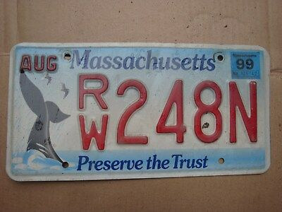 Mass 1999LICENSE PLATE Whale tail