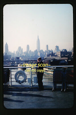 1950s New York City on SS United States Passenger Ship, Original Photo Slide a7a