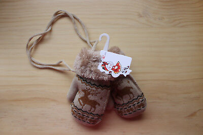 Child's Kid's Girl's Boy's Mittens Gloves - Animal Deer Reindeer - Brown - New