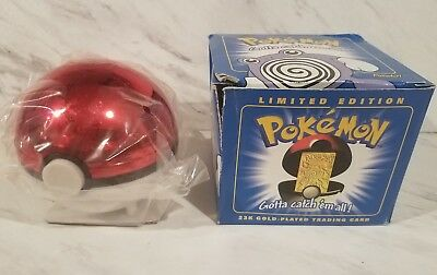 Pokemon Pokeball 23k gold trading cards Burger King 1999 Poliwhirl New Sealed