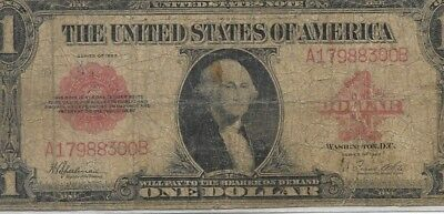 "$1 ""red Seal"" 1923 (U.s. Note) 1923 $1 ""red Seal"" (Very Rare) ""horseblanket"" Wow"