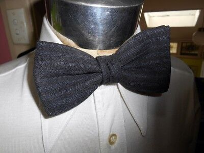 Vintage 1960's Charcoal Grey Clip On Bow Tie Steampunk Prom Formal Vegas Tuxedo