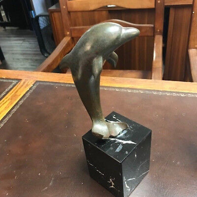 Single Bronze Dolphin Sculpture On Marble Base