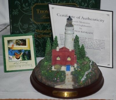 Thomas Kinkade Seaside memories Lighted Lighthouse Clearing Storms MIB/COA