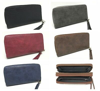 Women's Faux Leather Fashion Zippered Clutch Wallet Card Holder Phone Bag Purse