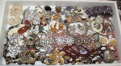 Huge Vintage Rhinestone Jewelry Lot Sterling, Gold Filled, Victorian, Weiss++