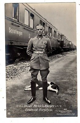 Original Ww1  German Ace Photo Postcard Otto Parschau Sanke Number 380 Look !