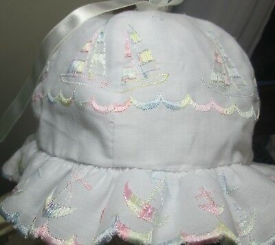 Vintage White Embroidered Pink Blue Sailboats Beach Sun Bonnet Hat