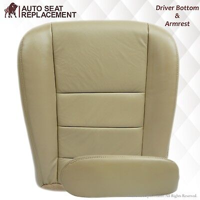 2002 To 2007 Ford F250 F350 Lariat Driver Bottom Vinyl Seat Cover & Armrest TAN
