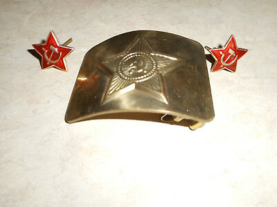 Vintage Soviet Union Ussr Solid Brass Military Belt Buckle And Collar Buttons?