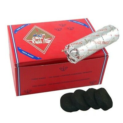 100 Pieces Three 3 Kings Charcoal Hookah Shisha Coal Incense 33mm 10 Rolls New!