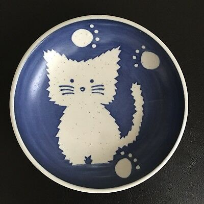 Japanese Small Ceramic Cat Dish pet food trinket decor collectable blue white