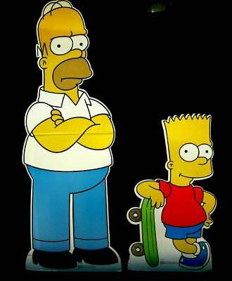 BART & HOMER SIMPSON Lightly Used TWO STANDEE Life Size Cardboard Cutout Standup