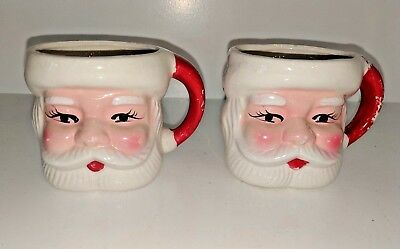 2 Vintage Ceramic Santa Face Collectible Christmas Mugs No Markings Rosy Cheeks