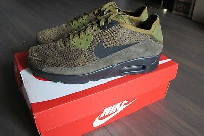 501462ec5e SIZE 8 US Mens NEW Nike Air Max 90 Ultra 2.0 Flyknit Shoes Olive Flak 875943