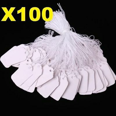 X100 White Strung String Tags Swing Price Tickets Jewelry Retail Tie On Label A