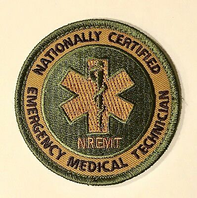 """NREMT Subdued Camo Hook Back 3"""" Patch TECC TCCC TEMS Medic star of life"""