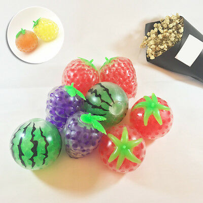 funny Fruit Strawberry Grape Banana Gel Ball Toy Squishy Anti Stress Squeeze New