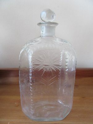 Antique British Cut Glass Bottle Floral Design, with Stopper