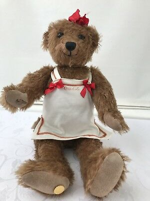Vintage Coca Cola Heirloom Girl Plush Jointed Limited Edition Teddy Bear Brown