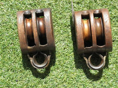 Vintage Antique Nautical Wooden Cast Iron Double-Roller Pulley country old wood
