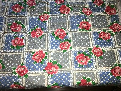 "Lovely True Vtg Red Pink ROSES Fabric 2 Yd + 34"" x 35"" Wide Cotton Blue Dot"