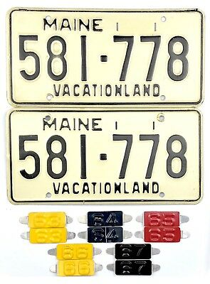1962 Undated Maine License Plate PAIR WITH *CHOICE* OF TABS 1963-1967 No Reserve