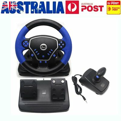 3in1 Gaming Vibration Racing Steering Wheel (25cm) and Pedals for PS2 PS3 PC USB