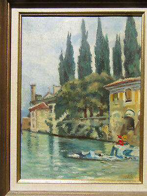 "Gorgeous Antique Italian Painting on Wood, theme ""Two young ladies on the river"""