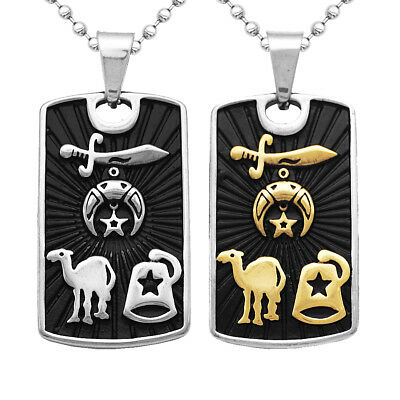Men Black Stainless Steel Dog Tag Military Pendant Necklace Ball Bead Chain