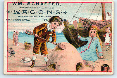 1890's WM SCHAEFER Antique HORSE WAGON Victorian ILLUSTRATED Trade Card ST LOUIS