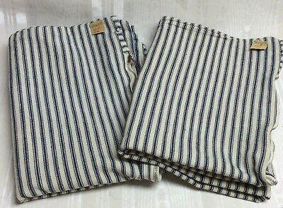 Pair/2-Vintage Montg. Wards Ticking Zippered Pillow Cases, Blue Stripe