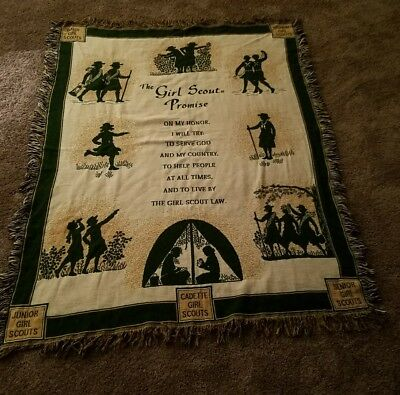 """Girl Scouts Acrylic Blanket Tapestry Girl Scout Promise 45x65"""" HTF RARE"""