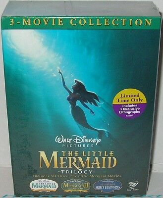 Disney USA - The LITTLE MERMAID Trilogy Gift Box Set with Lithographs - NEW