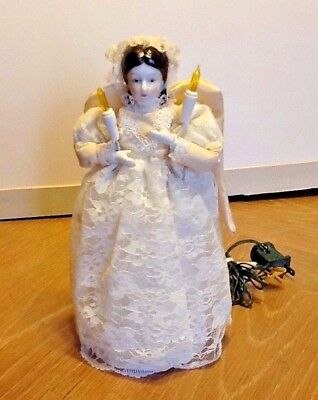 Vintage Bisque Porcelain Angel Doll Christmas Tree Topper White Lace Dress
