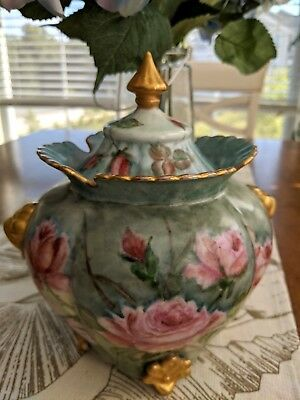 Gorgeous 7.75'' Hand Painted And Enameled Antique Biscuit Jar With Scalloped Top